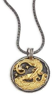 Konstantino Zodiac 18K Gold, Sterling Silver& Diamond Aquarius Pendant