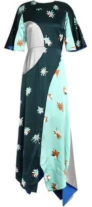 Roksanda Amaya Color-Block Hammered Silk-Satin Maxi Dress