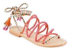 Antik Batik Dori Braided Ankle-Strap Leather Sandals