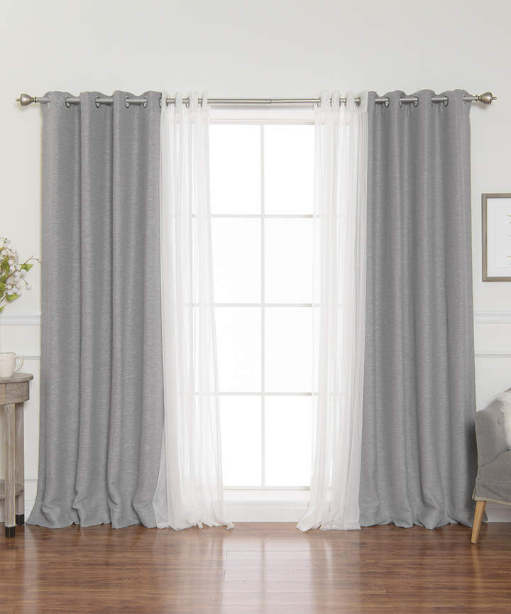 Gray Sheer Tulle & Blackout Four-Piece Mix & Match Curtain Set