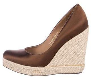 Salvatore Ferragamo Satin Espadrille Wedges