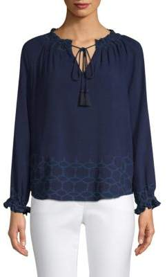 Donna Karan Embroidered Eyelet Top