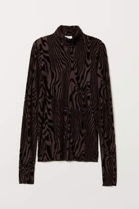 H&M Burnout-patterned Top - Brown