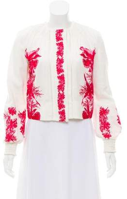 Intermix Embroidered Button-Up Jacket