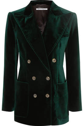 Bella Freud Bianca Double-breasted Cotton-velvet Blazer - Green