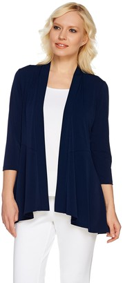 Susan Graver Liquid Knit 3/4 Sleeve Cardigan with Peplum