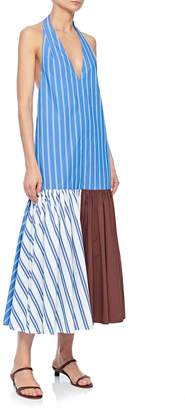 Tibi Vivian Stripe V-Neck Halter Dress