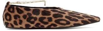 Stella McCartney Leopard Print Velvet Ballet Flats - Womens - Leopard
