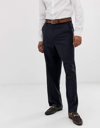4a5a720236 Asos Design DESIGN wide leg smart pants in navy 100% wool