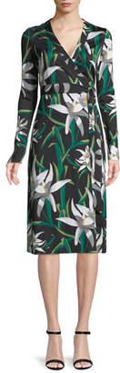 Diane von Furstenberg Cybil Lily Floral-Print Silk Wrap Dress