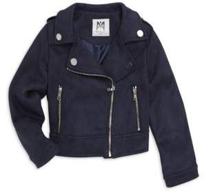 Milly Minis Little Girl's& Girl's Stretch-Suede Mini Moto Jacket
