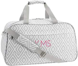 Pottery Barn Teen Jet Set Preppy Diamond Gray Duffle, Gray