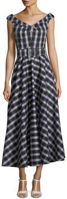 Michael Kors Madras Check-Print Stretch Cotton Poplin Midi Dress