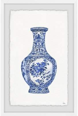 Bloomsbury Market 'Blue Patterned Vase' Framed Watercolor Painting Print