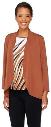 Bob Mackie Bob Mackie's Jersey Knit Feather Print Tank and Solid Cardigan Set