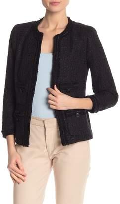 Anne Klein Tweed Chain Trim Jacket