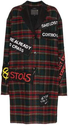 R 13 tartan punk patch coat