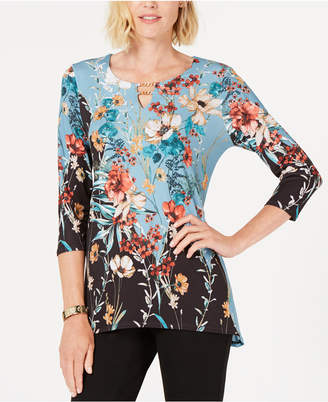 JM Collection Petite Printed Stretch Top