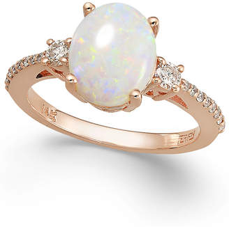Effy Aurora by Opal (1-3/8 ct. t.w.) and Diamond (1/4 ct. t.w.) Oval Ring in 14k Rose Gold