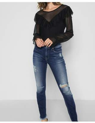 7 For All Mankind Ankle Skinny With Destroy And Scallop Hem In Liberty