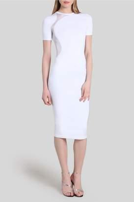Cushnie White Gala Mesh Panel Dress
