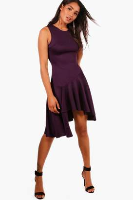 boohoo Asymmetric Hem Skater Dress