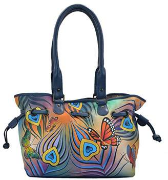 Anuschka Anna by Genuine Leather Draw-String Tote Handbag | Hand-Painted Original Artwork |