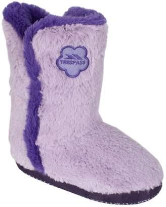 Trespass Childrens Girls Alice Faux Fur Fluffy Slippers
