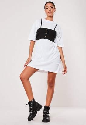 Missguided White Button Corset Detail Mini T Shirt Dress