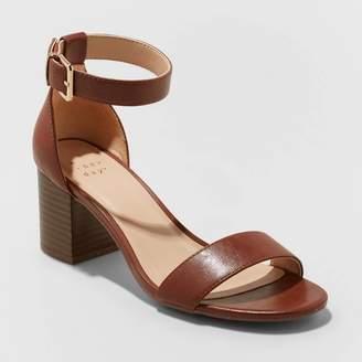 A New Day Women's Kianta Faux Leather Mid Block Heel Sandal Pumps Brown