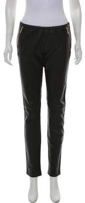 Emilio Pucci Leather Mid-Rise Skinny Pants