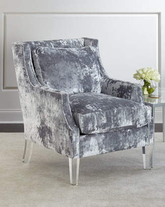 John-Richard Collection Textural Velvet Scoop Arm Chair