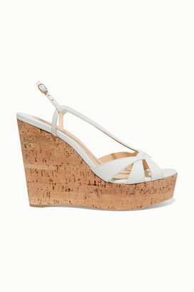 Christian Louboutin Lady Wedgy 120 Leather Wedge Sandals - White