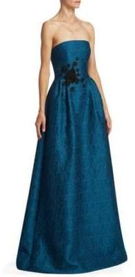 ML Monique Lhuillier Strapless Jacquard Gown