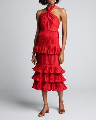 Johanna Ortiz Eccentric Vibes Tiered Ruffled Halter Dress