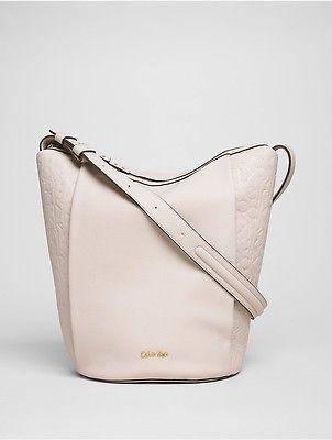 Calvin KleinCalvin Klein Womens Faux Leather Embossed Bucket Bag Mushroom
