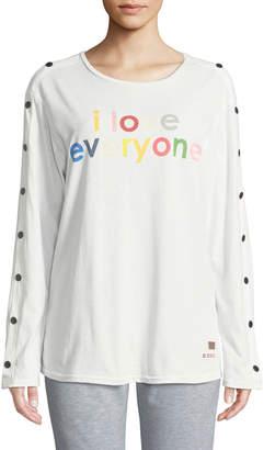 Peace Love World Doni I Love Everyone Snap-Sleeve Top