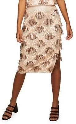 Miss Selfridge Sequin Fringe Midi Skirt