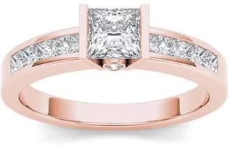 Imperial Diamond Imperial 1 Carat T.W. Diamond Princess-Cut Half-Bezel Classic 14kt Rose Gold Engagement Ring
