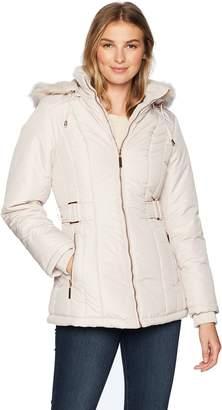 Details Women's Cinchable-Waist Coat with Cozy-Trimmed Hood