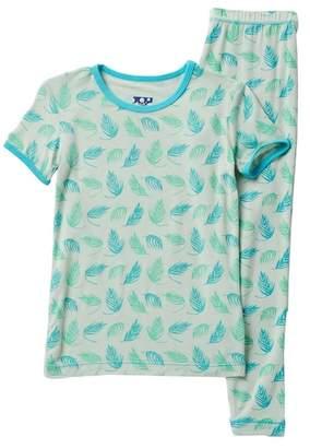 Kickee Pants Printed Palm Frond Short Sleeve Pajama Set (Baby, Toddler, Little Boys, & Big Boys)
