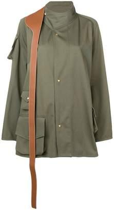 Loewe leather strap-flap pocket jacket