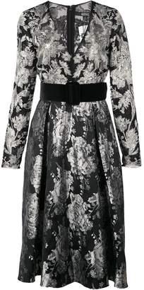 Badgley Mischka belted v-neck flared dress