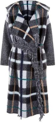 Stella McCartney Oversized Wool Check Wrap Coat