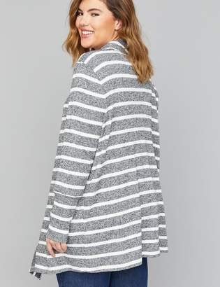 Lane Bryant Striped & Ribbed Drape-Front Overpiece