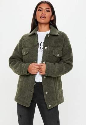 Missguided Tall Khaki Oversized Borg Jacket