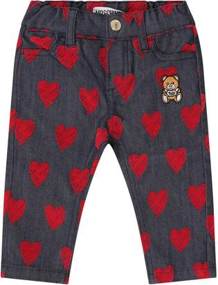 Moschino Blue Babygirl Jeans With Red Hearts