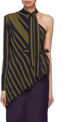 MATÉRIEL Sash tie neck belted stripe one-shoulder top