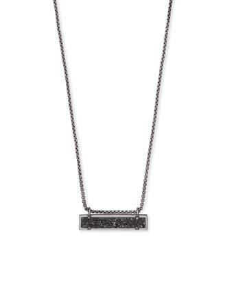 Kendra Scott Leanor Gunmetal Pendant Necklace in Black Drusy