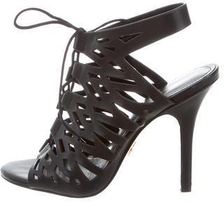 Pour La Victoire Cutout Leather Sandals $75 thestylecure.com